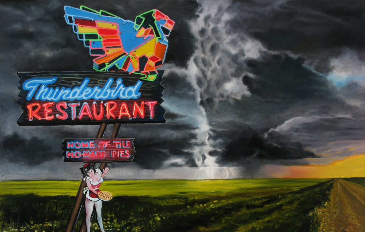 An untitled painting by Buffalo painter Bruce Adams, a detail of which is shown here, will be on view for one night in a David Lynch-inspired art exhibition in an abandoned department store at 950 Broadway.