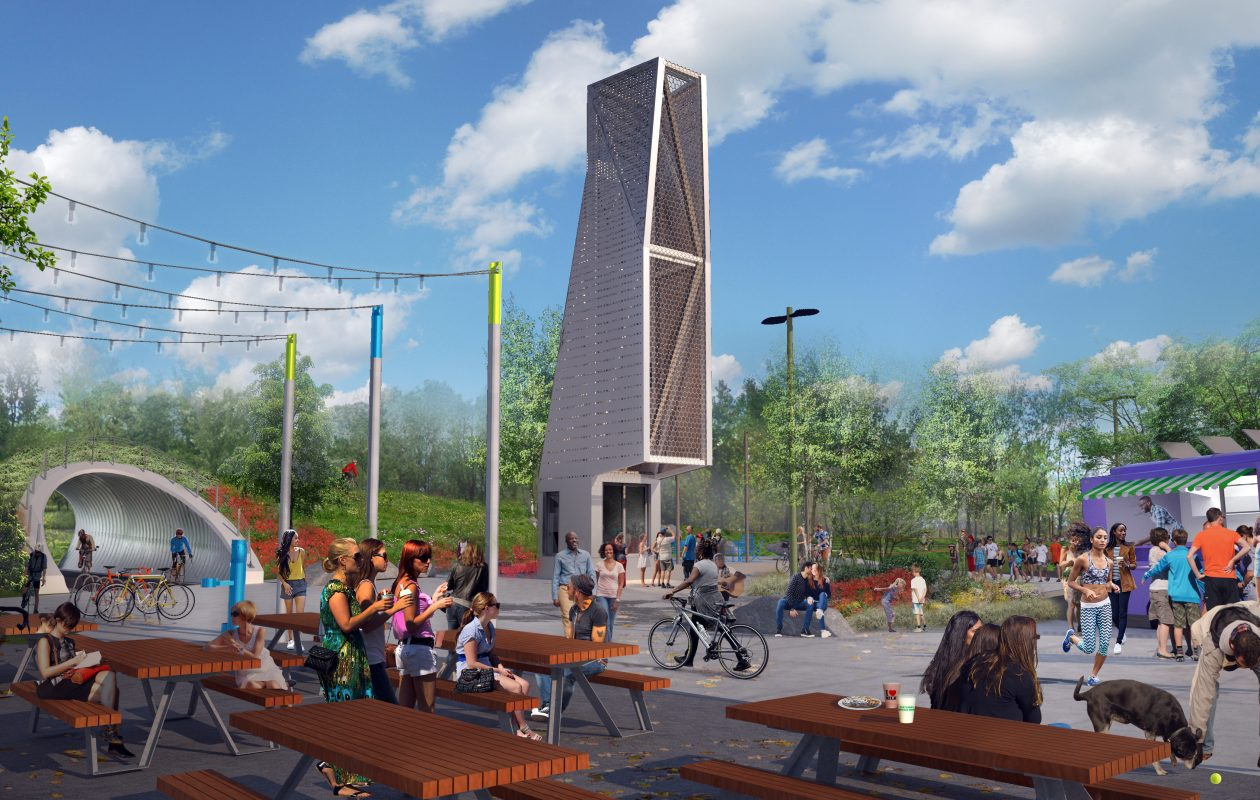 Rendering of area near 'the Great Lawn,' where a  slender metallic building would double as an information center and ticket kiosk, a food truck and picnic tables would be nearby along with other landscaping features.