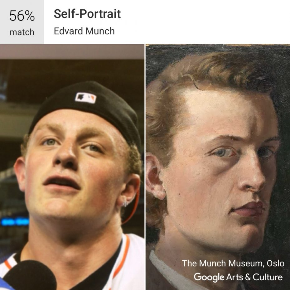 Sabres center Jack Eichel resembles a self-portrait by Edvard Munch from the Munch Museum in Oslo, Norway, at least  according to Google's popular Arts and Culture app. (Eichel photo by James McCoy/Buffalo News,  Munch image via Google Arts and Culture app)