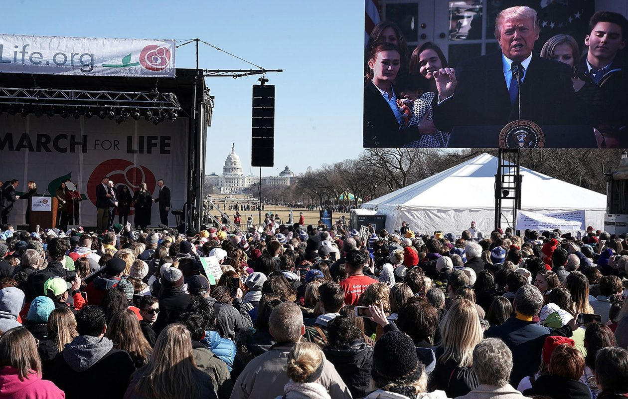 Pro-life activists watch U.S. President Trump give remarks on a jumbotron during a rally at the National Mall before the 2018 March for Life. (Alex Wong/Getty Images)