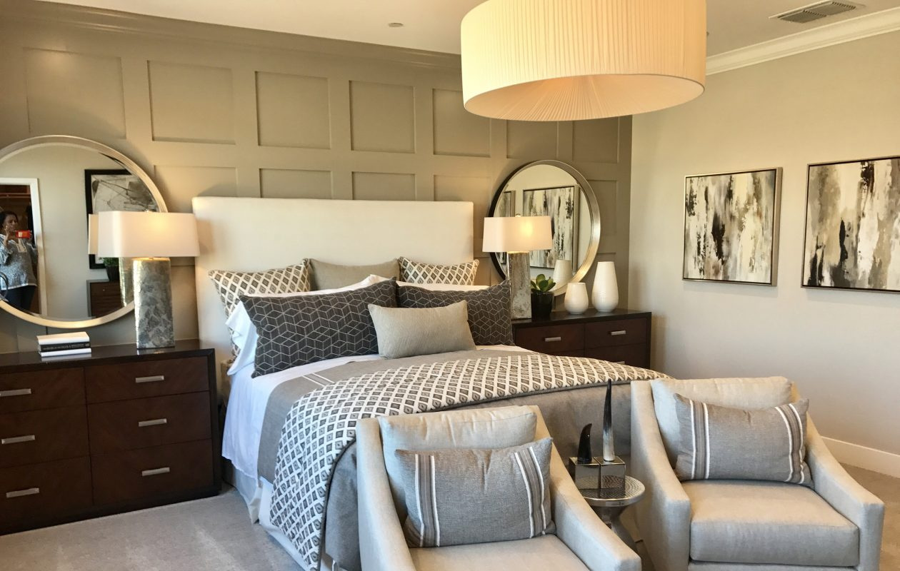 In our A-Z guide, 'A' is for accent wall. Above, a gray accent wall helps create the inspiration for gray accents used throughout this master bedroom. (Design Recipes/Tribune News Service)