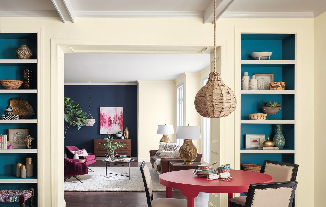 This image from Sherwin-Williams shows colors from the Affinity palette. It includes its color of the year, Oceanside, seen on the back of the display shelves.