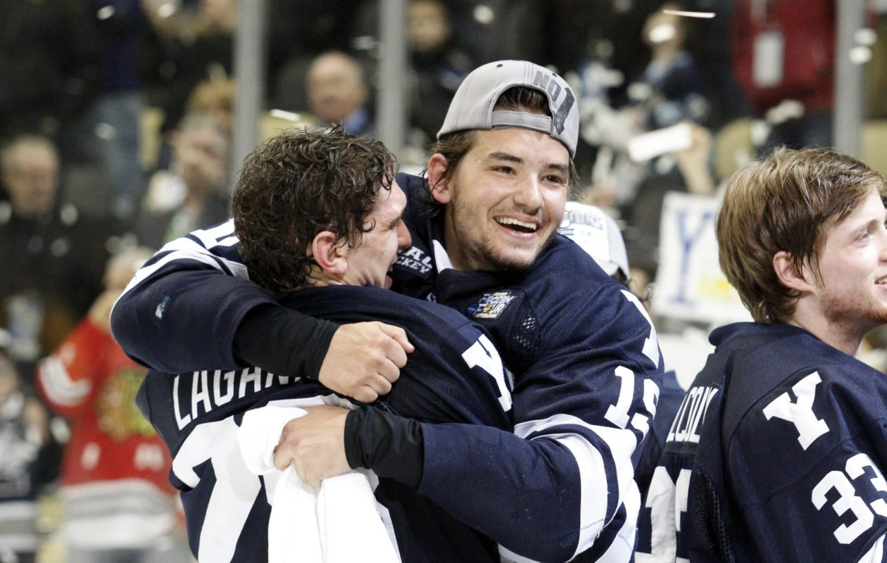 Current St. Francis coach Anthony Day (19) helped Yale win the NCAA Division I hockey championship in 2013 in Pittsburgh, Pa.  (Getty Images file photo)