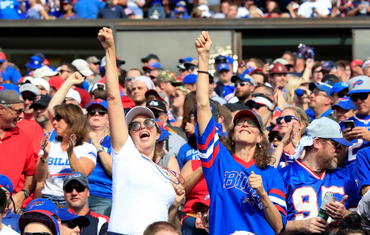 Buffalo Bills fans celebrate a LeSean McCoy touchdown against the Tampa Bay Buccaneers during the second quarter of an NFL football game at New Era Field on Sunday, Oct. 22, 2017. (Harry Scull Jr./Buffalo News)