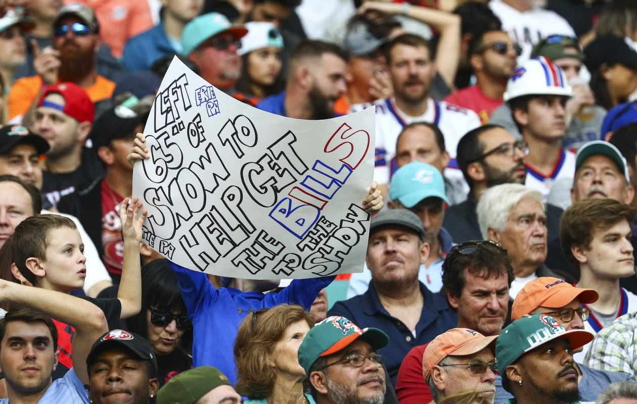 Bills fans cheer on their team Sunday in Hard Rock Stadium in Miami Gardens, Fla. (James P. McCoy / Buffalo News)