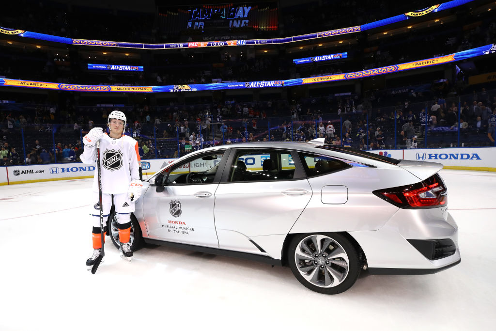 Vancouver's Brock Boeser took home a new car and a boatload of money for being named All-Star MVP. (Getty Images)