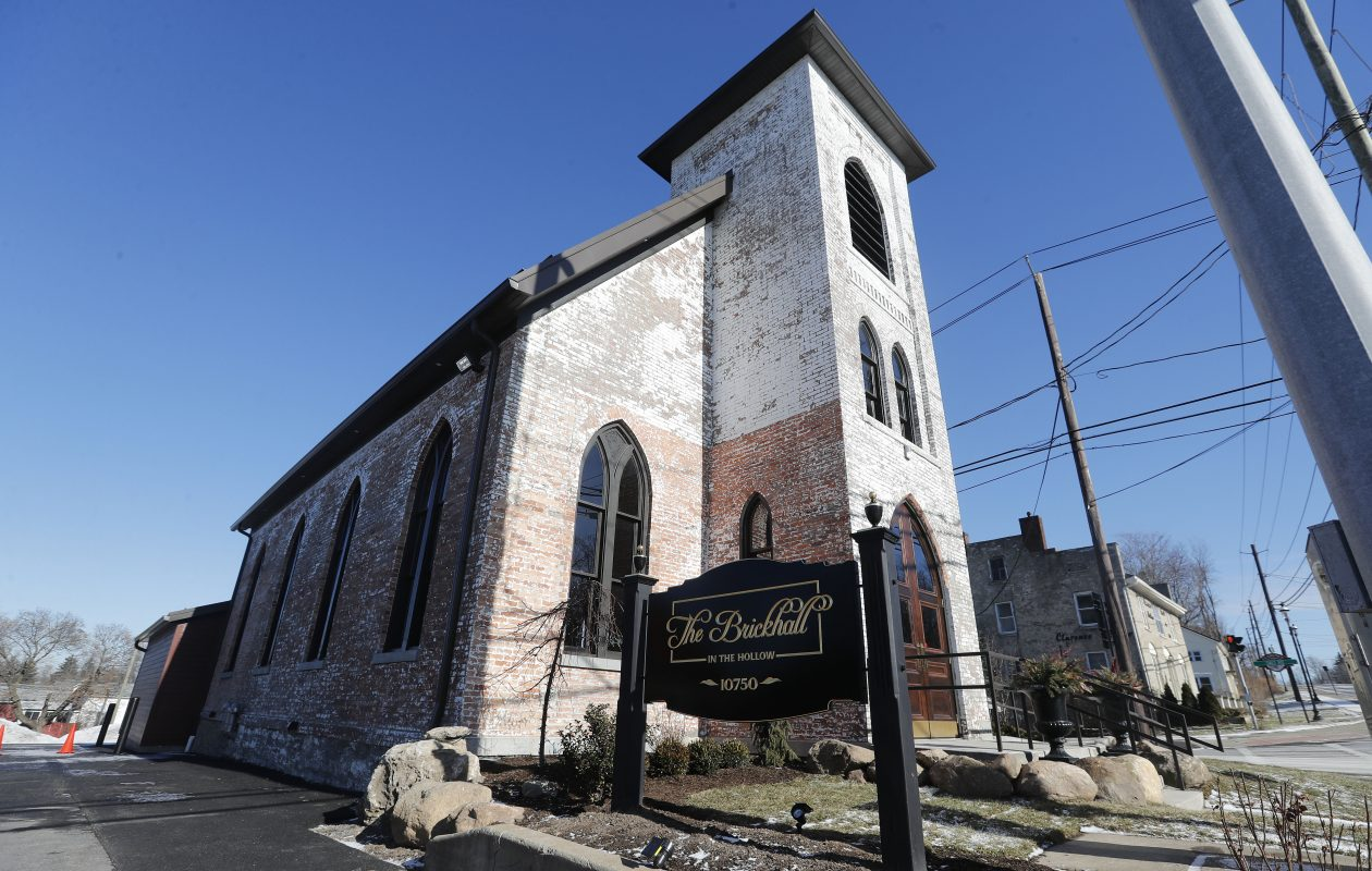 The Brickhall in the Hollow events venue opened in December 2017 in the former First Presbyterian Church in Clarence. The church was built in 1844. (Mark Mulville/Buffalo News)