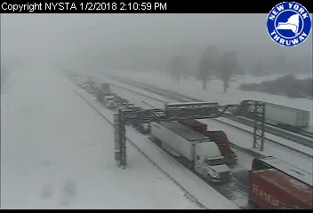 Eastbound traffic on the Thruway is backed up due to a crash between exit 48A and exit 49. ((Photo courtesy NITTEC)