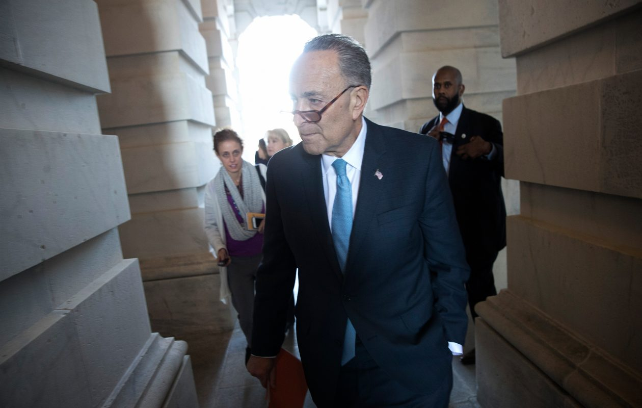 Senate Minority Leader Chuck Schumer returns to the U.S. Capitol after meeting with U.S. President Donald Trump on the looming threat of a federal government shutdown. (Win McNamee/Getty Images)