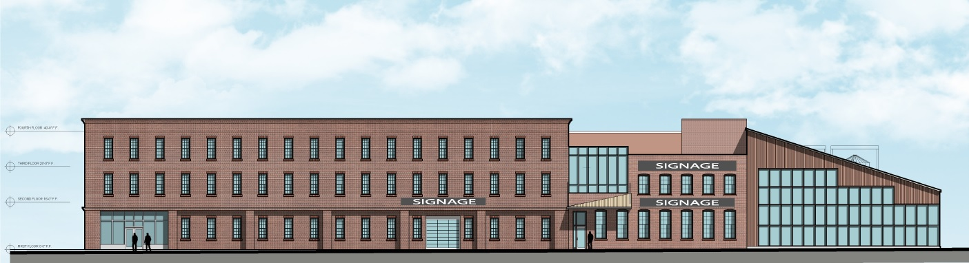 A rendering of the previous design for the proposed new Cooperage project, from the west. The brick and some of the windows have now changed. (Image courtesy of Ellicott Development Co.)