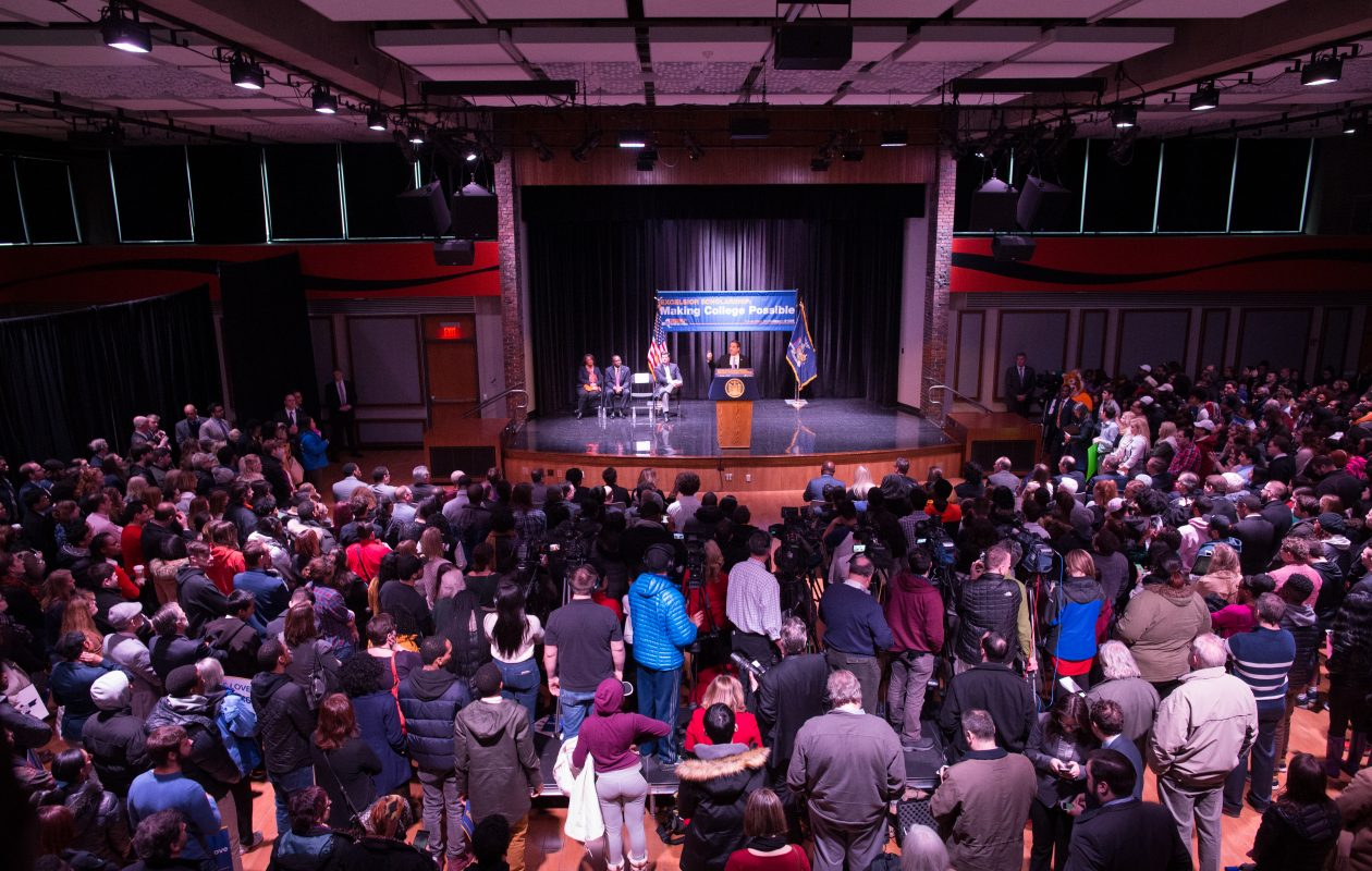 Gov. Andrew Cuomo speaks during a rally for the Excelsior Scholarship, his plan for free tuition at public universities, at SUNY Buffalo State in February 2017. (Derek Gee/News file photo)