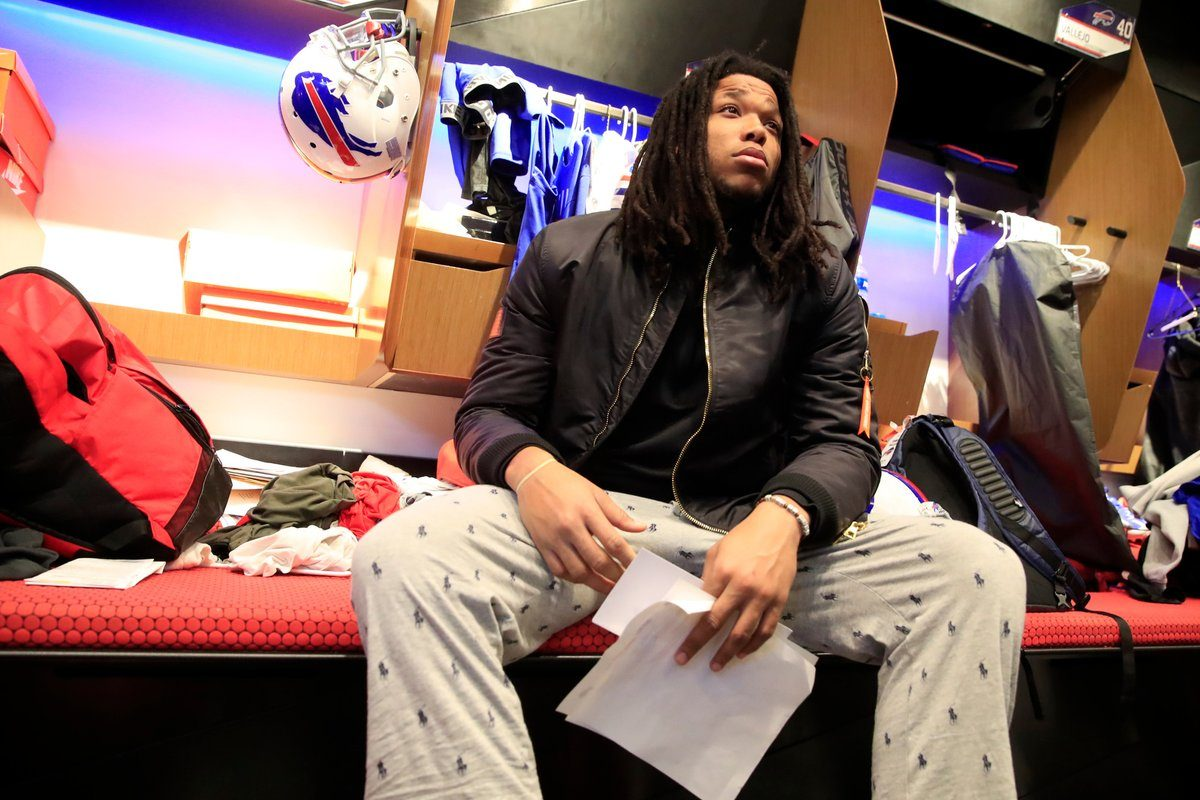 Bills receiver Kelvin Benjamin sits at his locker as the Bills' packed up their belongings on Monday, Jan. 8, after being eliminated from the playoffs. (Harry Scull Jr./Buffalo News)