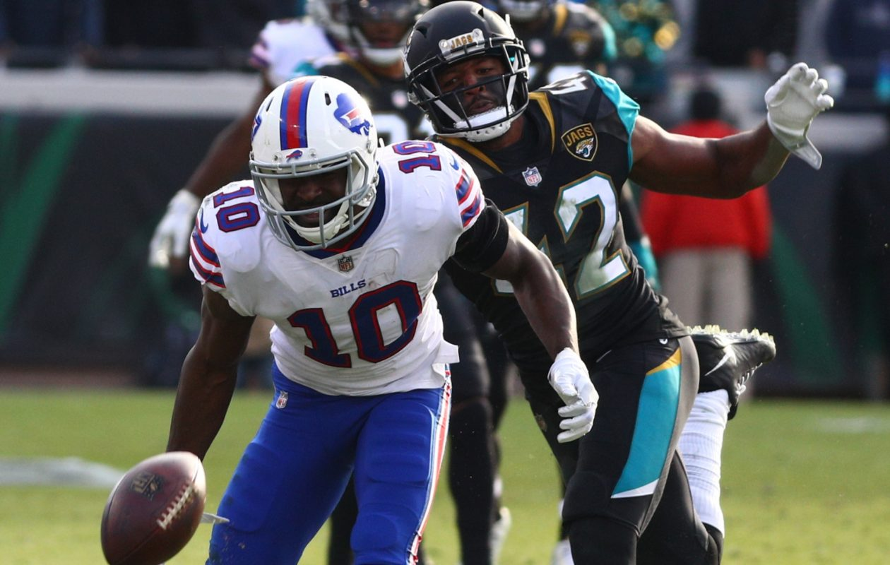 Buffalo Bills wide receiver Deonte Thompson (10) drops a pass while being covered by Jacksonville Jaguars' strong safety Barry Church (42) in the fourth quarter on Sunday, Jan. 7, 2018, at Everbank Field in Jacksonville, Fla.  (James P. McCoy / Buffalo News)