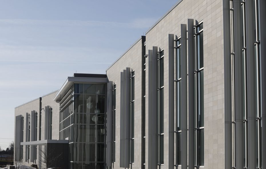"""The modern exterior of the new STEM Building at ECC North Campus.  The college wants to build a mixed-use """"innovation hub"""" on or near the North Campus. (Derek Gee/Buffalo News)"""