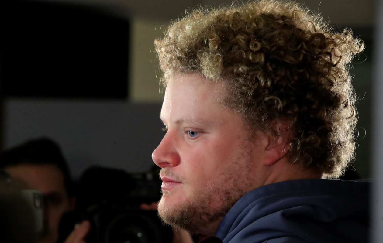 Eric Wood speaks to the media as he cleans out his locker the day after closing out the season with a loss to the Jacksonville Jaguars on Jan. 8, 2018. (Harry Scull Jr./Buffalo News)