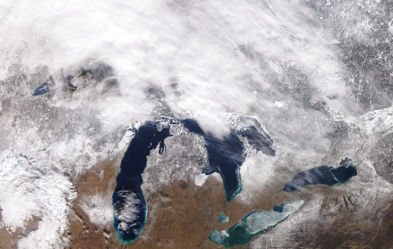 A frost quake is a real Great Lakes phenomenon, residents north of Milwaukee learned Saturday. (NASA Terra Satellite)