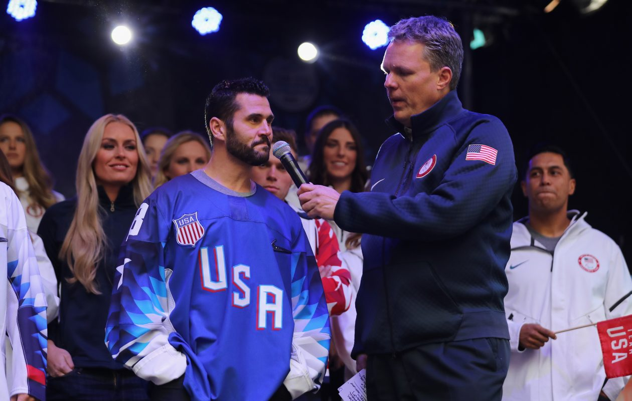 Former Sabres captain Brian Gionta modeled the USA Olympic jersey back in November. (Getty Images)