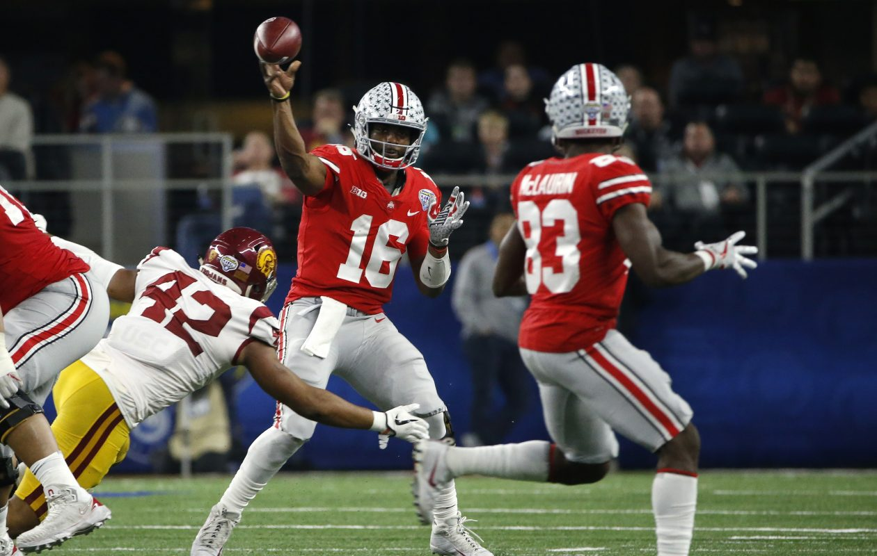 Ohio State quarterback J.T. Barrett is the only three-time team captain in Buckeyes history. (Getty Images)