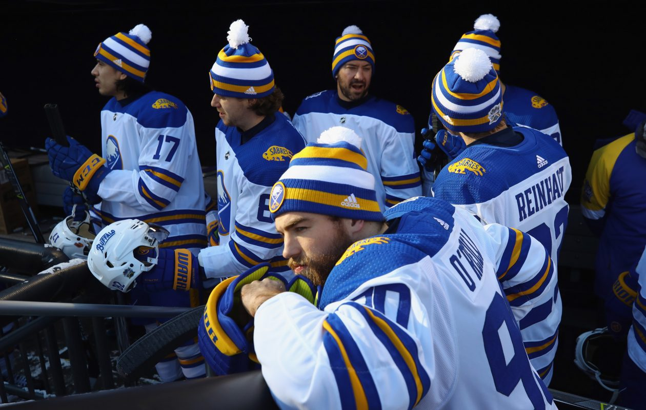 The jerseys worn by the Sabres during Monday's game are up for bid until Jan. 14. (Getty Images)
