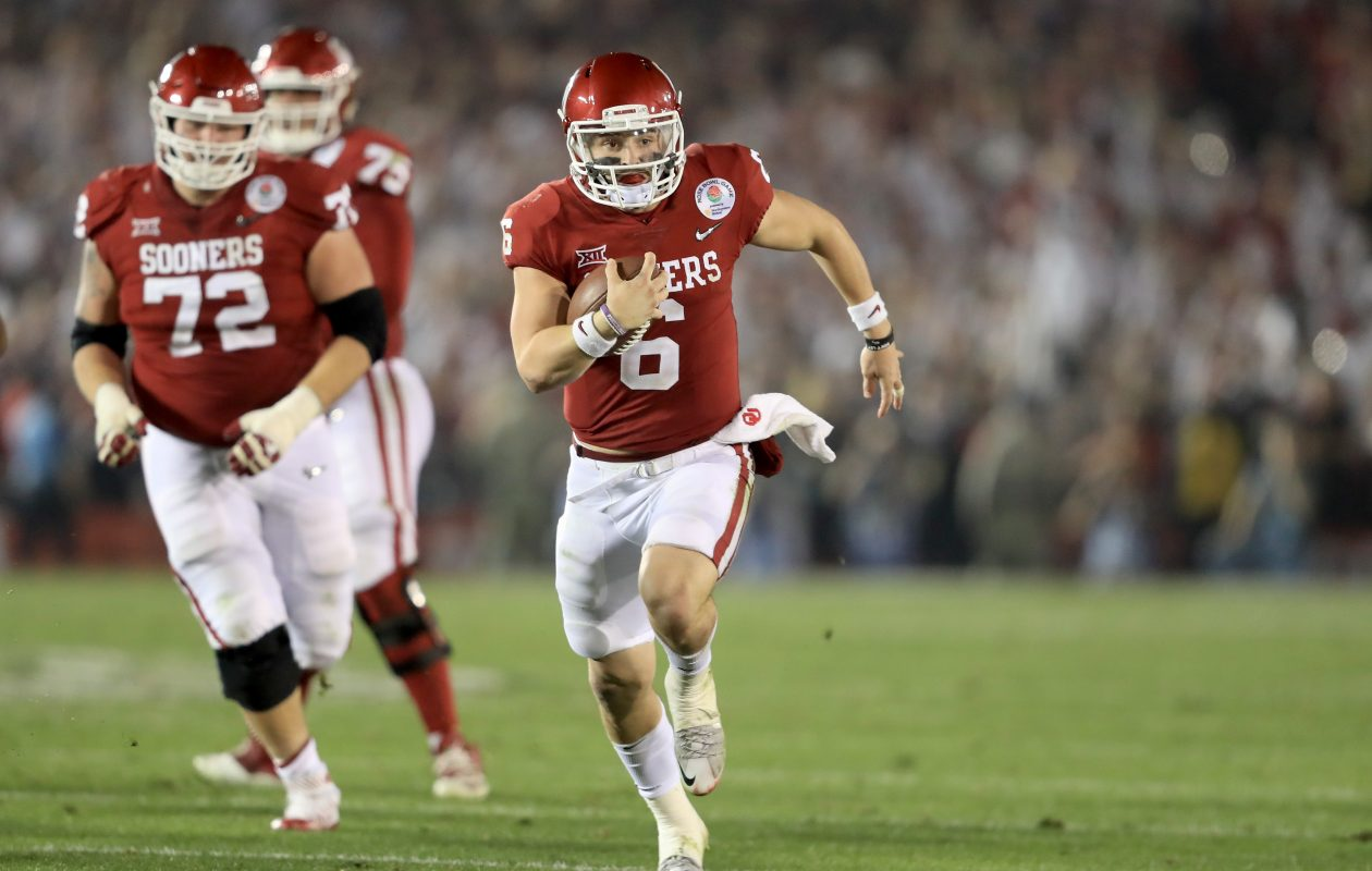 Oklahoma quarterback Baker Mayfield won the Heisman Trophy in 2017. (Getty  Images) 915980893