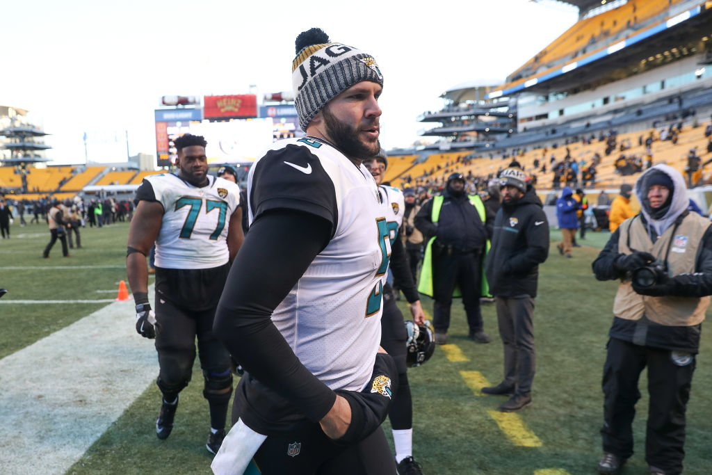 Blake Bortles of the Jacksonville Jaguars runs off the field after defeating the Pittsburgh Steelers in the AFC Divisional Playoff game at Heinz Field on January 14, 2018 in Pittsburgh, Pennsylvania.  (Photo by Rob Carr/Getty Images)