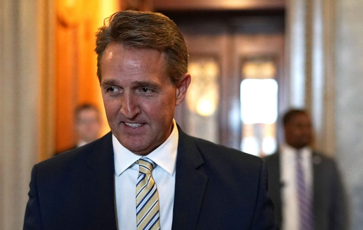 U.S. Sen. Jeff Flake (R-AZ) leaves the Senate chamber after he delivered a speech January 17, 2018 at the U.S. Capitol in Washington, DC. Sen. Flake gave a critical speech on the Senate floor to rebuke President Donald Trump's frequent attacks towards the news media.  (Photo by Alex Wong/Getty Images)