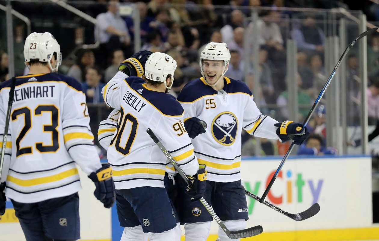 The Sabres' power-play unit, including Sam Reinhart, Ryan O'Reilly and Rasmus Ristolainen, is at 40 percent the last four games. (Getty Images)