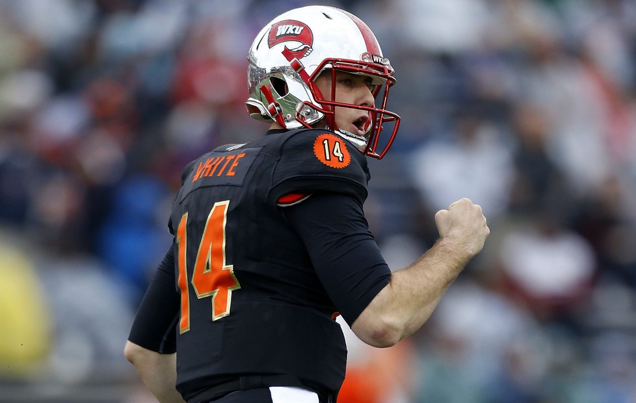 Mike White of the South team celebrates a long pass during the Senior Bowl (Jonathan Bachman/Getty Images)