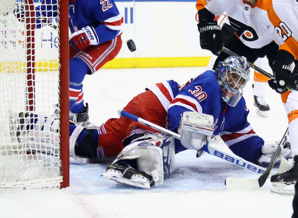 Rangers goalie Henrik Lundqvist makes a save in Tuesday's win over Philadelphia (Getty Images).
