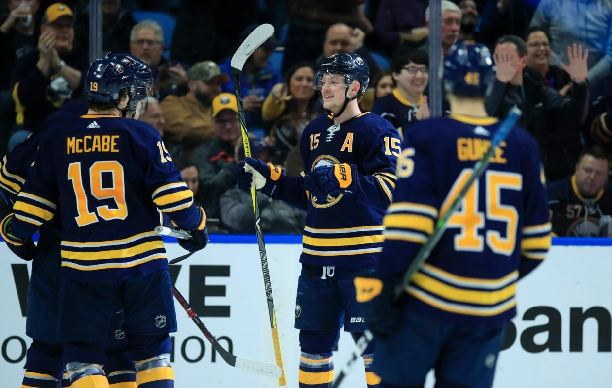 In Thursday's win over Columbus, Jack Eichel assisted on Benoit Pouliot's first-period goal and scored his 18th of the season into the empty net (Harry Scull Jr./Buffalo News).