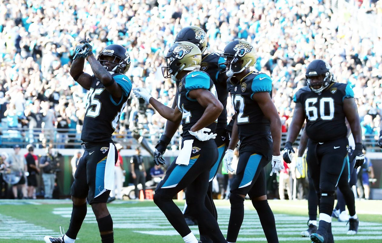 Jaydon Mickens #85 of the Jacksonville Jaguars celebrates a touchdown with his teammates during their game against the Houston Texans at EverBank Field on Dec. 17, 2017, in Jacksonville, Fla.  (Logan Bowles/Getty Images)