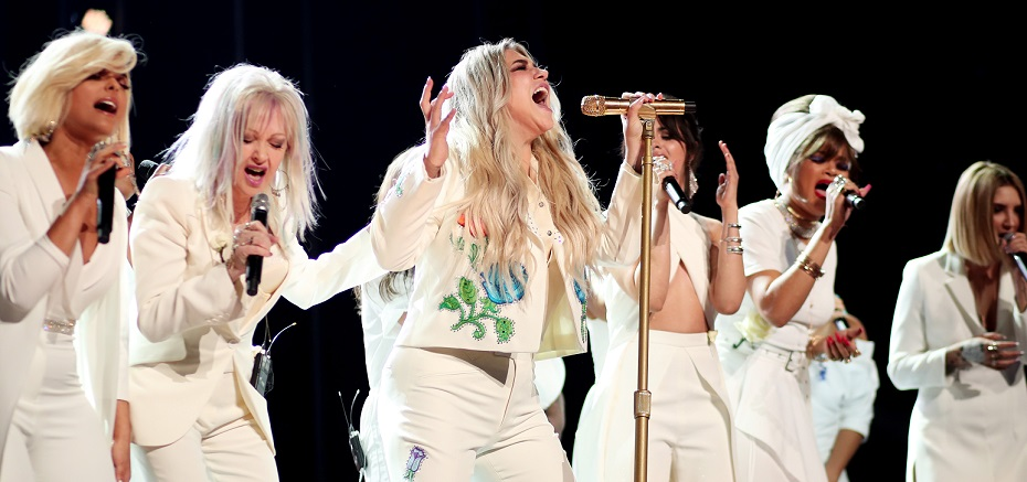 Bebe Rexha, left, Cyndi Lauper, Kesha, Camila Cabello, Andra Day and Julia Michaels the 60th annual  Grammy Awards. (Getty Images)