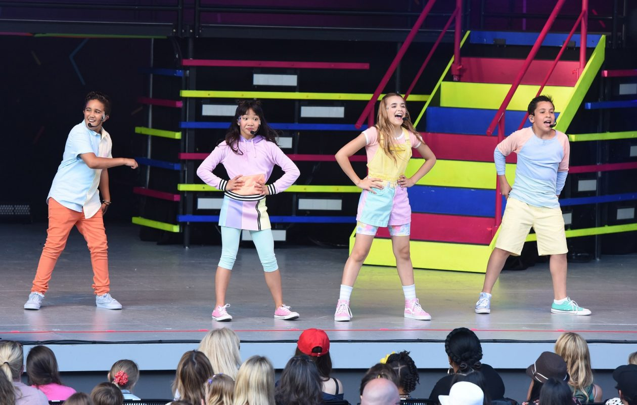 Isaiah Morgan, Julianna Revilla, Sierra Brogmus and Freddy Pomee of KIDZ BOP perform in Los Angeles in June. Three of the four, with the exception of Sierra, are expected to be part of the Kidz Bop visit to Darien Lake. (Photo by Vivien Killilea/Getty Images for KIDZ BOP)