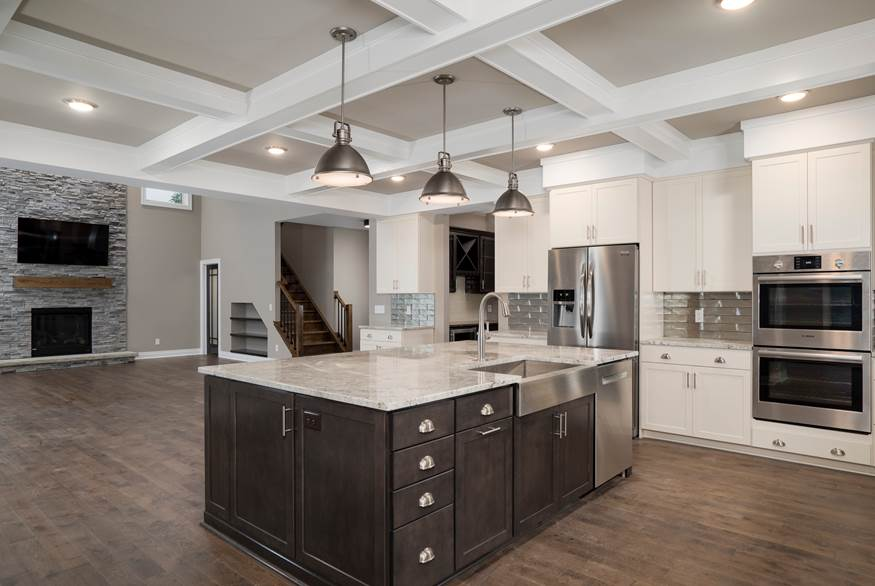 An Alliance Homes' kitchen with contemporary colors, fixtures and technology.