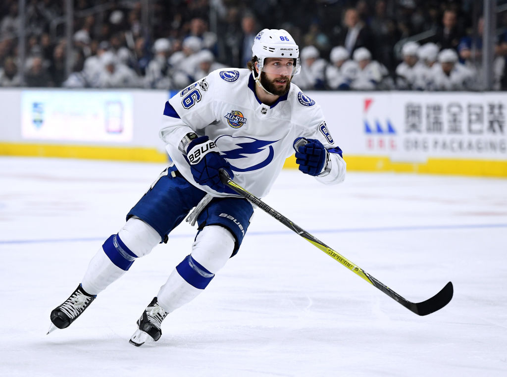 Tampa Bay's Nikita Kucherov leads the NHL in scoring at the All-Star break with 63 points (Getty Images).
