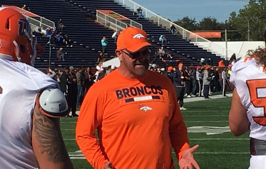Denver line coach Sean Kugler, a Lockport native, gives instruction during the Senior Bowl in Mobile, Ala. (Mark Gaughan/Buffalo News)