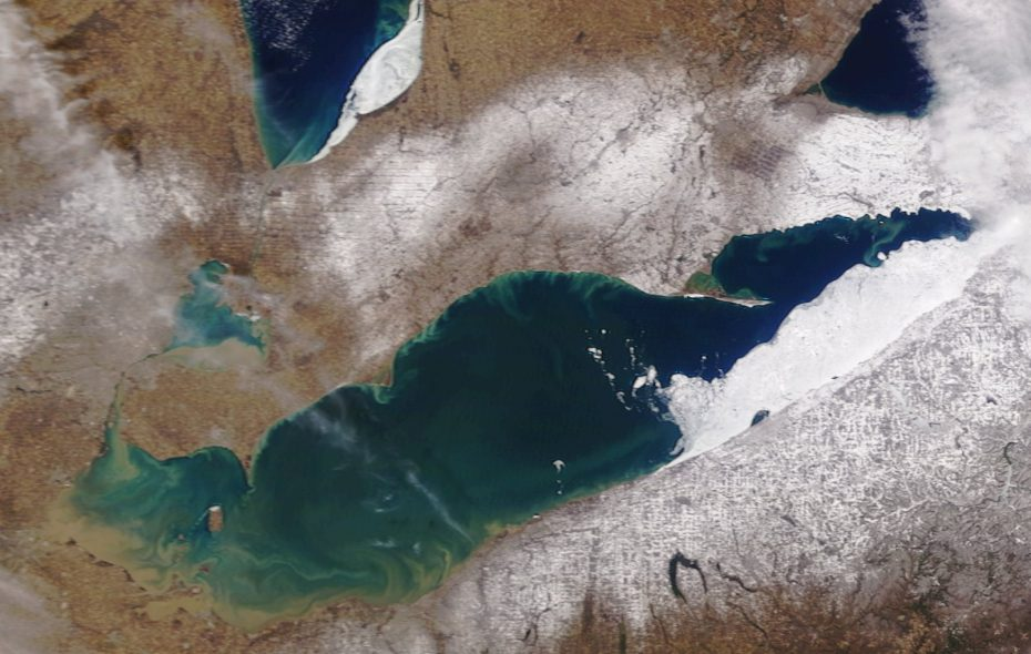 The ice on Lake Erie has flowed south and east and settled between Erie, Pa. and Buffalo, satellite photographs Monday showed. (NASA Terra)