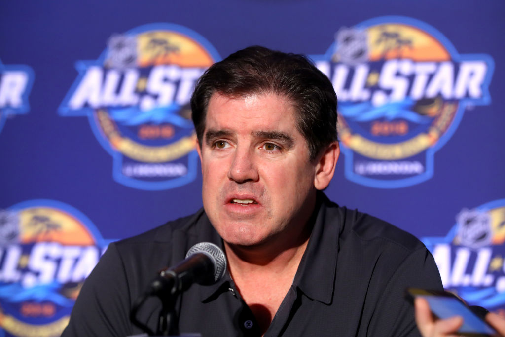 Nashville coach Peter Laviolette meets the media Saturday in Tampa (Getty Images).