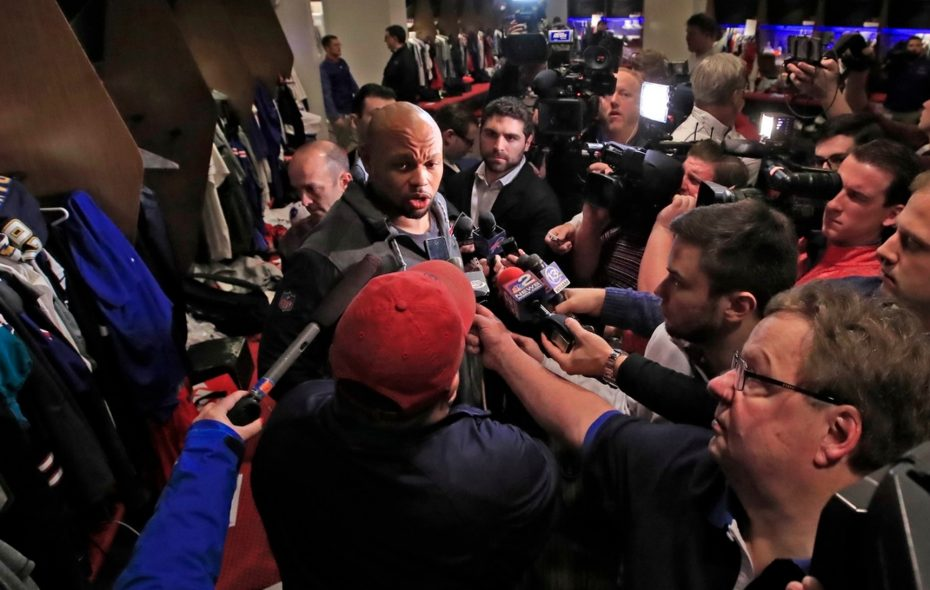 Lorenzo Alexander speaks to the media on Monday, Jan. 8, 2018, as the Bills cleaned out their lockers. (Harry Scull Jr./News file photo)