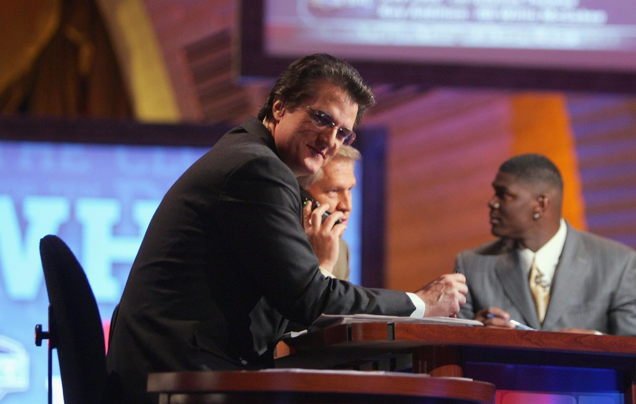 Mel Kiper broadcasts for ESPN during the 2007 NFL Draft at Radio City Music Hall in New York. (Chris McGrath/Getty Images)