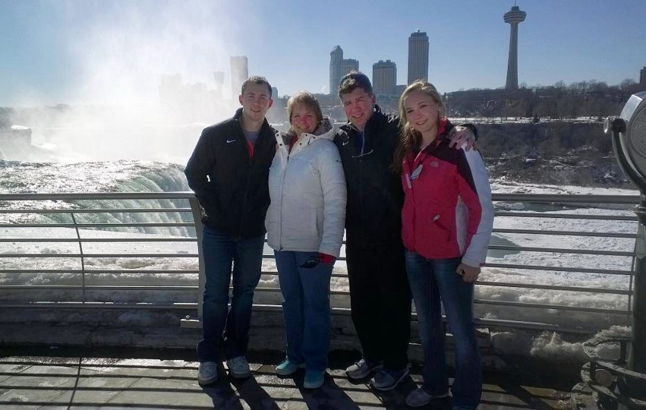 Michael Emendorfer at Niagara Falls, on a winter's day, with his wife, Lisa, son Logan and daughter Rachel. (Family photo)
