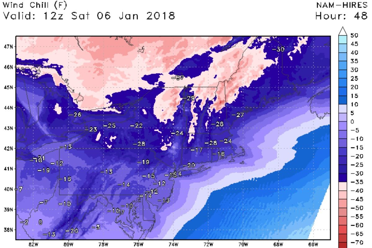 Wind chills could approach -30 degrees early Saturday morning. (StormVistaWxModels.com)