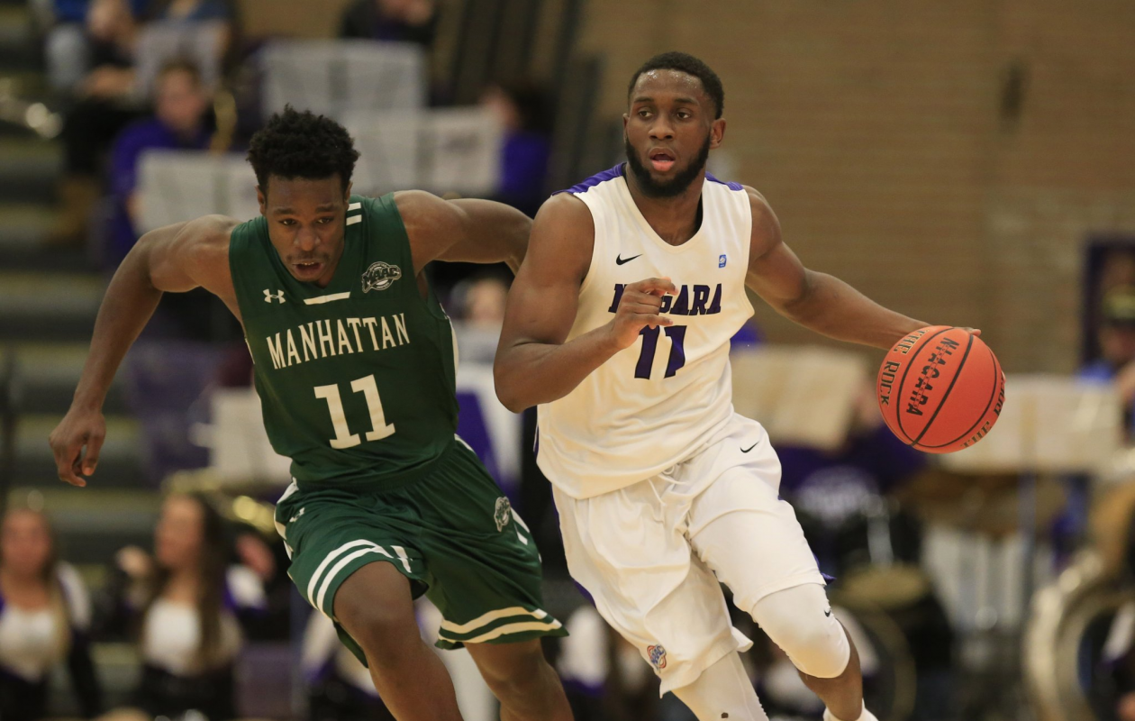 Niagara's Marvin Prochet scored had nine points, seven rebounds, four assists and a block against Manhattan on Wednesday. (Harry Scull Jr. / Buffalo News)