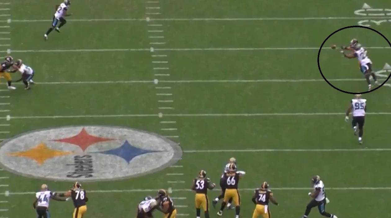 Jalen Ramsey undercuts a pass by Ben Roethlisberger for an interception. (NFL Game Pass)