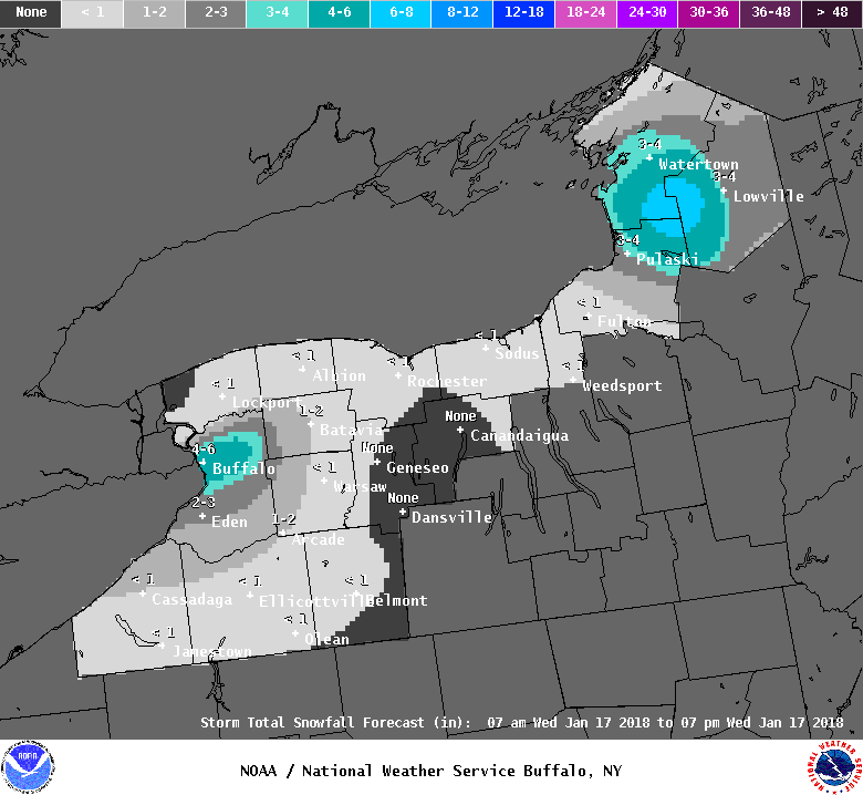 Up to 6 inches of lake-effect and lake-enhanced snow is possible in Buffalo today. (National Weather Service)