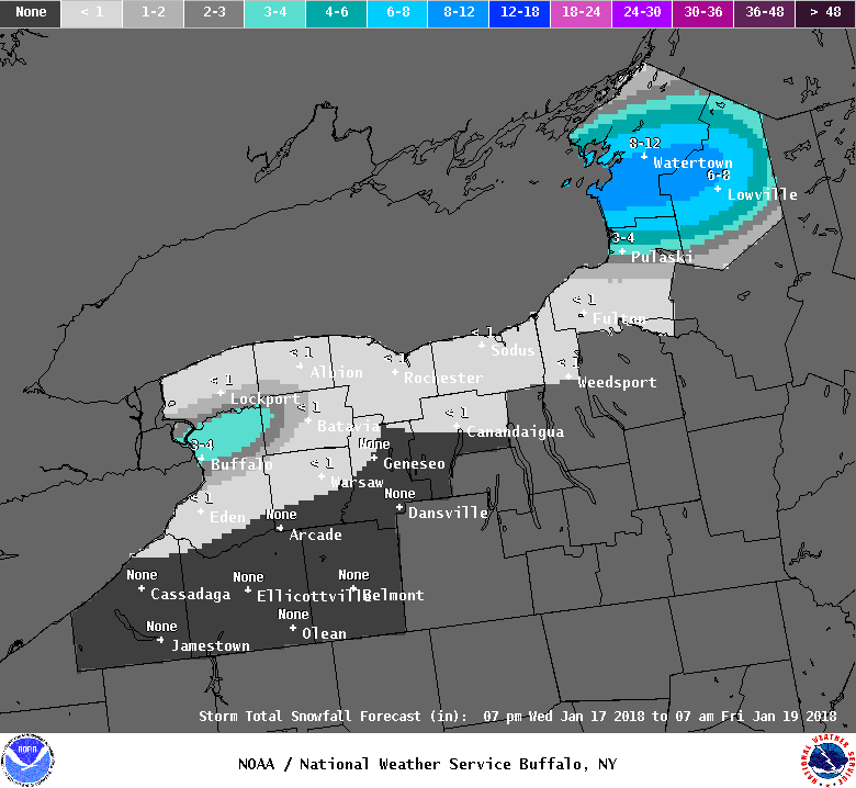 The metro Buffalo area could catch the heaviest snow in Western New York Thursday. Several inches is forecast through early Friday. (National Weather Service)