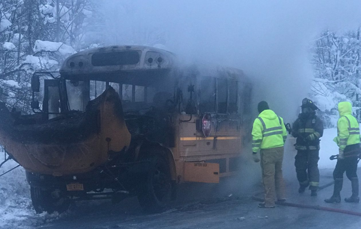 A Sherman Central School District bus caught fire Jan. 4, 2017, shortly after students were evacuated from it. No one was injured. (Courtesy of Sherman Central School District)