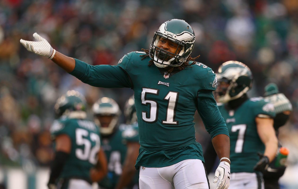 Defensive end Steve Means of the Philadelphia Eagles reacts after a play against the Dallas Cowboys on Dec. 31, 2017, in Philadelphia. (Mitchell Leff/Getty Images)
