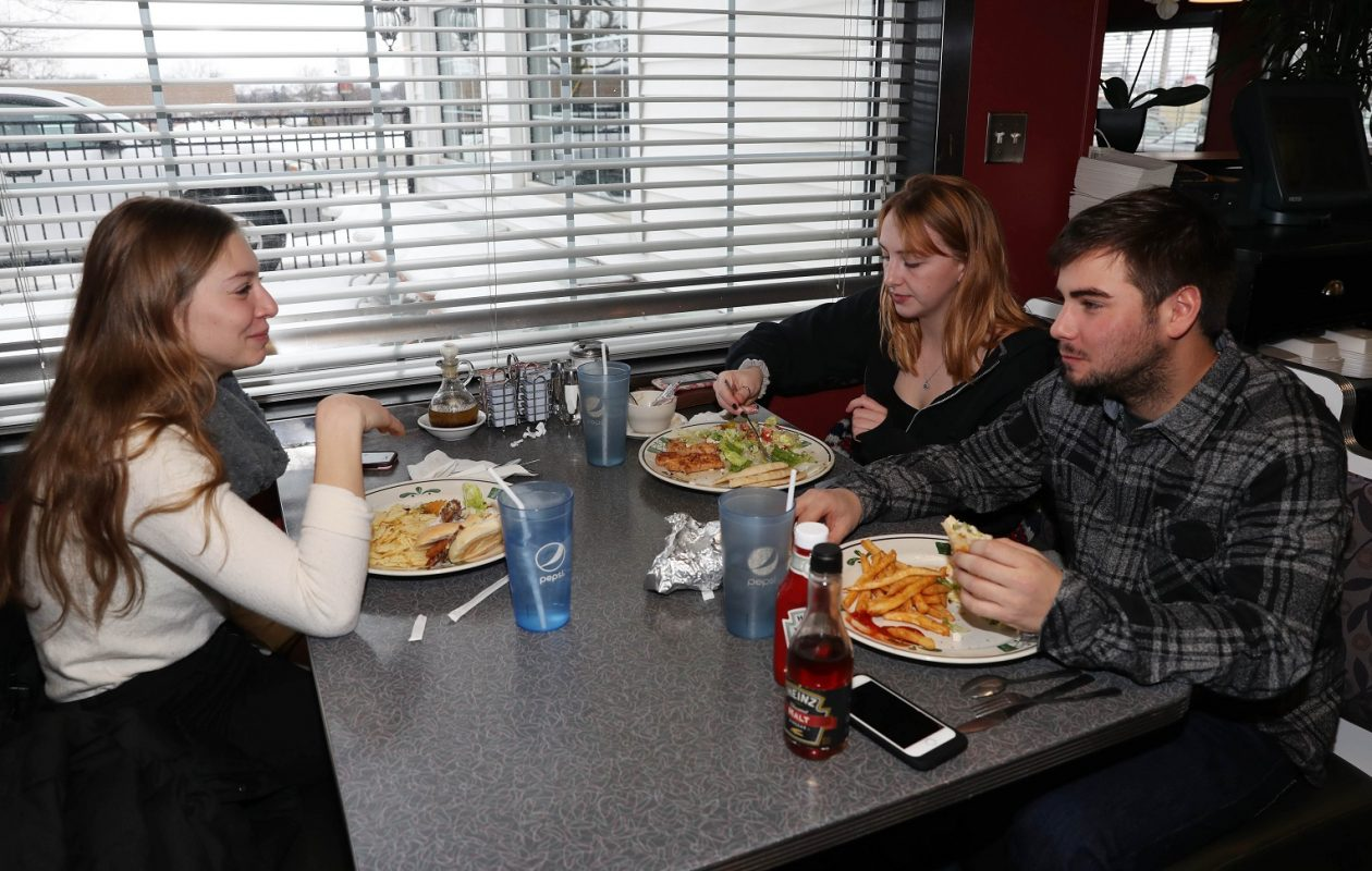 Having lunch at Syros Restaurant, from left, are Angelina Presutti, Karalyn Oddy and Zachary Rose, of Youngstown. (Sharon Cantillon/Buffalo News)