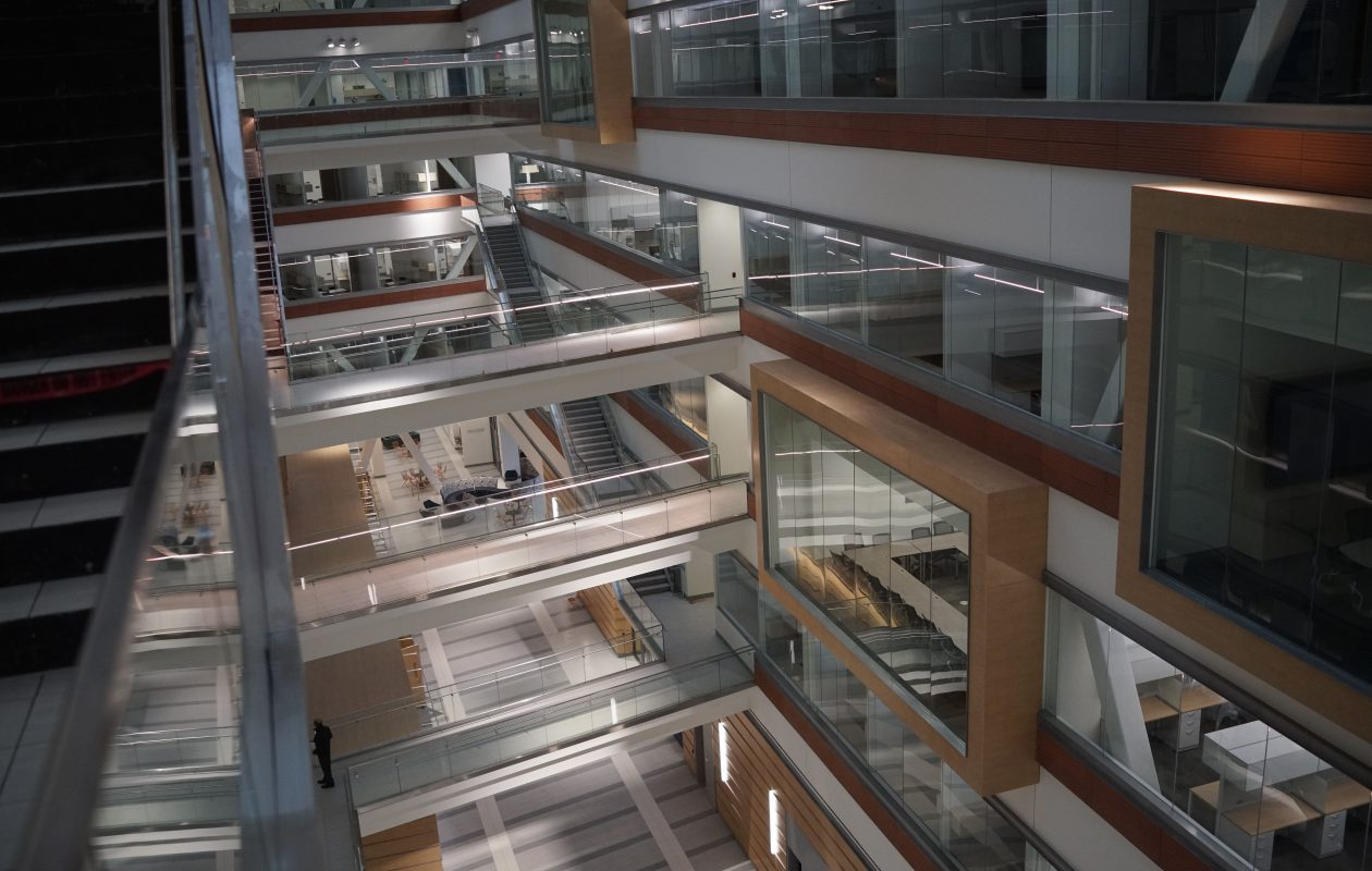 The seven-story atrium in the center of UB's new Jacobs School of Medicine and Biomedical Sciences on the Buffalo Niagara Medical Campus. (Derek Gee/Buffalo News)